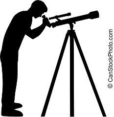 Man looking in telescope