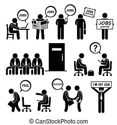 A set of human pictogram representing people looking, searching, and finding jobs and attending interviews at the office. He is trying to get employment at business workplace.