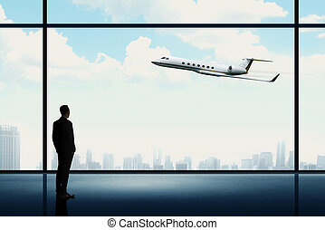 Man looking on the private jet. Business career conceptual