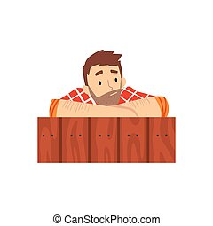 Man Looking Out from Behind Wall Cartoon Vector Illustration...