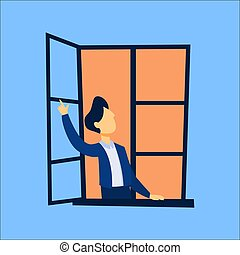 Man looking out of the opened window and pointing up with...