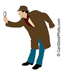 man looking through magnifier on isolated background