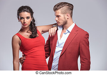 man looking to his beautiful woman