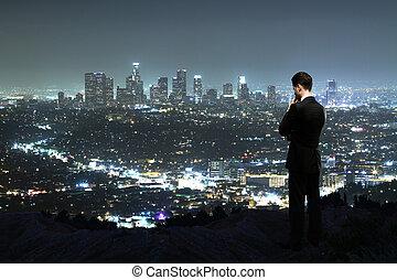 night city - man looking to night city