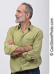 man looking to the side on white background