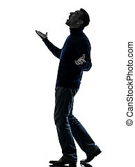 man looking up happy silhouette full length