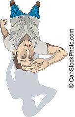 man looking up illustration
