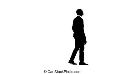 Man looks around and looks for something. White background....