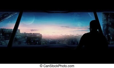 Man Looks At Futuristic City - Man goes to large windows and...