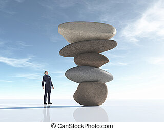 Man looks at some rocks arranged in balance. This is a 3d...