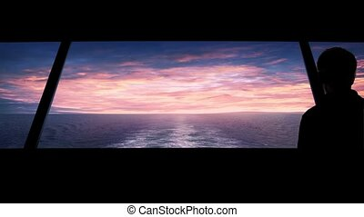 Man Looks Out At Sunset Ship's Wake