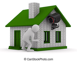 man looks out of corner. 3D image