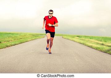man lopend, en, het uitoefenen, gezonde levensstijl