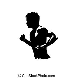 man lopend, vector, vrijstaand, uitvoeren, abstract, zijaanzicht, silhouette., logo