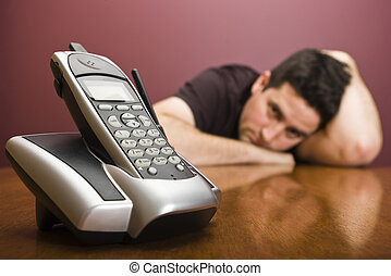 Man loses patience - A man loses patience waiting for phone...
