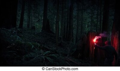 Man Lost In The Wild With Signal Flare