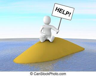 Man lost on island - Man sitting on small island with help...