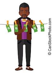 Man loundering money.