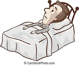 Illustration of a Man with Low Blood Pressure, Lying Down in Bed Awake at Night and Feeling Restless