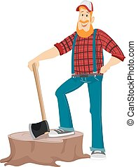 Man Lumberjack Tree Stump - Illustration of a Bearded...