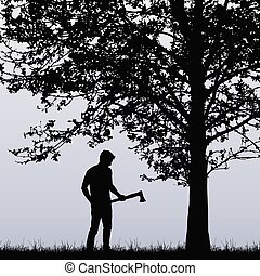 Man, lumberjack with an ax standing near a deciduous tree in the grass - vector