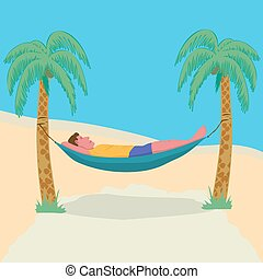 Man lying in a hammock attached to palm trees. Lazy vacation, downshifting, freelance. Freedom in tropical resort. Relaxation, procastination.