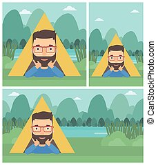 Man lying in camping tent vector illustration.