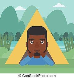 Man lying in camping tent vector illustration.