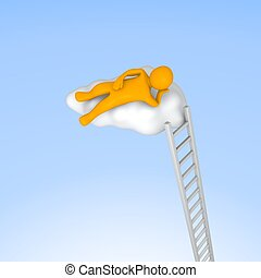 Man lying on cloud in the sky