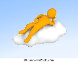Man lying on cloud
