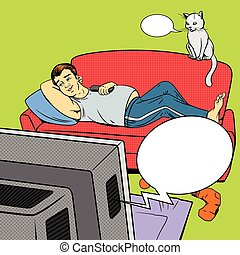 Man lying on couch sofa and lazy watching TV vector illustration. Comic book imitation