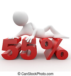Man lying on the 55 percent
