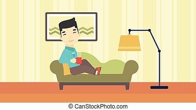 Man lying with cup of tea vector illustration.