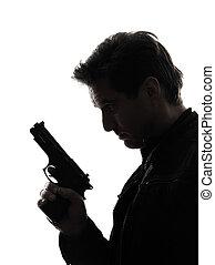 man, mördare, polisman, holdingen, gevär, stående, silhuett