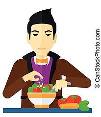 man, maaltijd., het koken