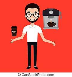 man machine coffee cup