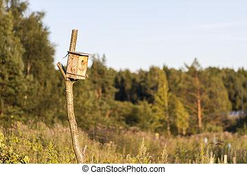 Man made birdhouse at sunset