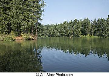 Lake and kayaks in a lake Vancouver Washington state.