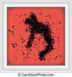 Man made of music notes dancing