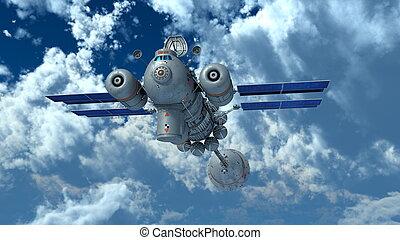 man-made satellite - Image of man-made satellite.