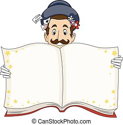 Man Magician Open Book Illustration
