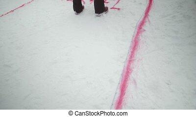 Man make red spray marking on snowboarding trail. Snowy mountain. Ski resort. Challenge. Competition