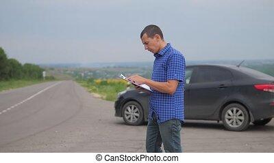 man makes car auto insurance slow motion video. man sale...