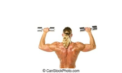 Man makes exercises dumbbells. Sport, power, dumbbells,...