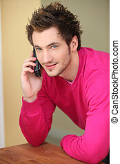 Man making a call from home