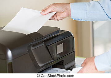 Man making a photocopy - Performing a photocopy clerk with...