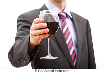 Man making a toast - Gentleman making a toast with a glass...