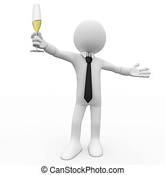 Man making a toast with a glass of champagne