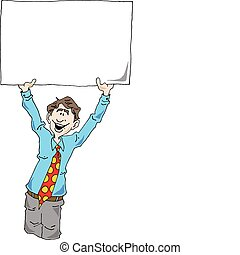 Man making an announcement. - Vector image of a Man making...