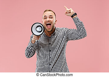 man making announcement with megaphone